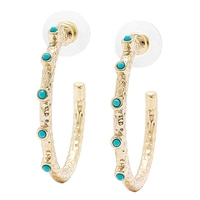 R.J. Graziano Turquoise Stone 3/4 Hoop Earrings