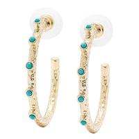 R.J. Graziano Turquoise Stone 3/4 Hoop Earrings