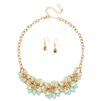 Parure collier à enjolivures florales et boucles d'oreille Pretty Blooms de Glamour