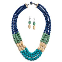 GLAMOUR Knock on Wood Colour Block Necklace & Earrings Set
