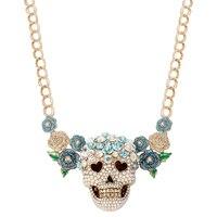 Betsey Johnson Multi Flower Skull Pendant Necklace