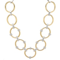 Emma Skye Stainless Steel Two Tone Drama Crystal Link Necklace