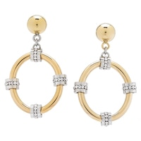 Emma Skye Stainless Steel Two Tone Drama Crystal Link Drop Earrings