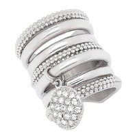 Emma Skye Stainless Steel Band Ring with Crystal Charm