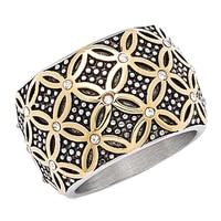 Bague de deux tonalités, rehaussée de nœuds quaternaires et de style caviar sur acier inoxydable de Emma Skye