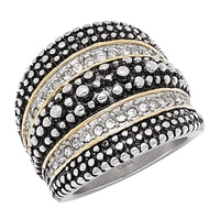 Emma Skye Stainless Steel Two Tone Bold Crystal Ring