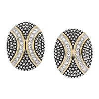 Emma Skye Stainless Steel Two Tone Bold Crystal Oval Stud Earrings
