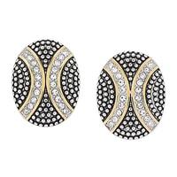 Boutons d'oreille ovales de deux tonalités et parés de cristaux sur acier inoxydable de Emma Skye