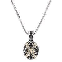 Chaîne et pendentif ovale de deux tonalités et paré de cristaux sur acier inoxydable de Emma Skye