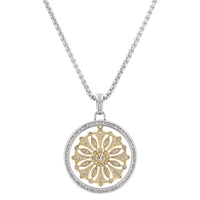 Emma Skye Stainless Steel Two Tone Starburst Crystal Pendant & Chain
