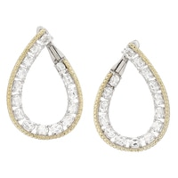 Dallas Prince Sterling Silver & 18K Yellow Gold Plated Oval Gemstone Hoop Earrings