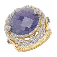 Dallas Prince Sterling Silver 14K Yellow Gold Plate Gemstone Ring