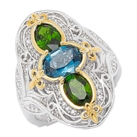 Dallas Prince Sterling Silver Gemstone Shield Ring