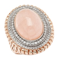 Dallas Prince Sterling Silver Rose Gold Plated Double Halo Ring