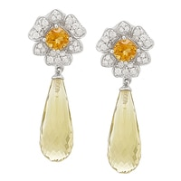 Dallas Prince Sterling Silver Gemstone Flower Earrings