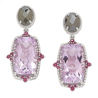 Dallas Prince Sterling Silver Pink Amethyst & Hematite Earrings