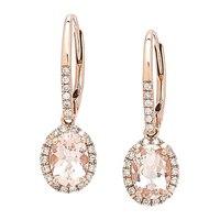 10K Rose Gold 1.37 ctw Morganite Halo Earrings