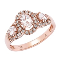 Morganite Gems 10K Rose Gold 0.76 ctw Morganite & Diamond Ring