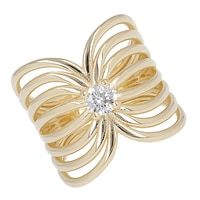 Toscana Diamonelle Sterling Silver 14K Yellow Gold Plate Multi Row Band