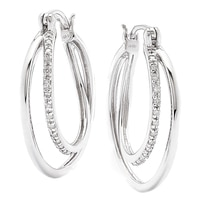 Clarity Diamonds Sterling Silver Double Row Diamond Drop Earrings