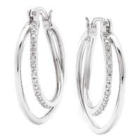 Boucles d'oreille composée de deux anneaux parés de diamants sur argent sterling de Clarity Diamonds