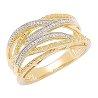 Clarity Diamonds Sterling Silver Two Tone Diamond Crossover Band