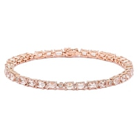Bracelet paré de morganites et de diamants sur or rose de 14 ct de Morganite Gems