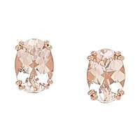 14K Gold 1.25 ctw Morganite Stud Earrings