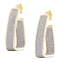 Silver Spectrum Sterling Silver 18K Yellow Gold Plate Glitter J Hoop Earrings