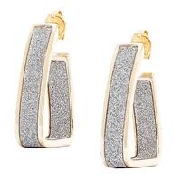 Créoles scintillantes en forme de J et en argent sterling plaqué or jaune 18 ct de Silver Spectrum
