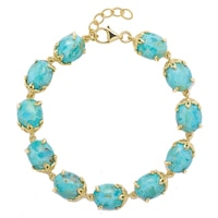 Sigal Style Sterling Silver Yellow Gold Plated Turquoise with Flower Prongs Bracelet