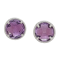 Sigal Style Sterling Silver Amethyst Stud Earrings