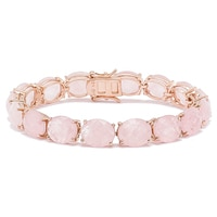 Sigal Style Sterling Silver Rose Gold Plate Rose Quartz Bracelet