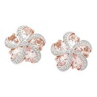 Morganite Gems Sterling Silver 6.45 ctw Morganite & Zircon Earrings