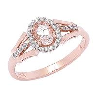 Morganite Gems 10K Rose Gold 0.45 ctw Morganite & Zircon Ring