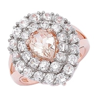 Morganite Gems 10K Rose Gold Tear Drop 1.00 ctw Morganite & Zircon Ring