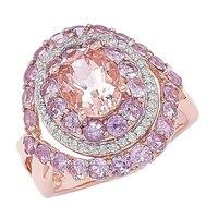 Morganite Gems 14K Rose Gold 0.84 ctw Morganite & Pink Sapphire Ring