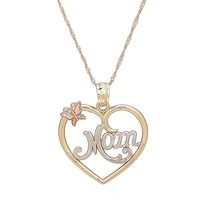 International Gold 10K Tricolour Gold Mom Heart Pendant & Chain