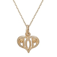"International Gold 14K Yellow Gold ""Mom"" Pendant & Chain"