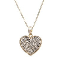 International Gold 14K Two Tone Gold Reversible Mom Heart Pendant & Chain