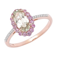 Zultanite Gems 14K Rose Gold Zultanite, Pink Sapphire & Diamond Ring