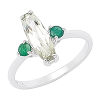 Zultanite Gems 14K White Gold Zultanite & Emerald Ring