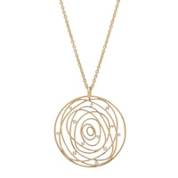 Bronzoro Italia CZ Large Disc Pendant Necklace