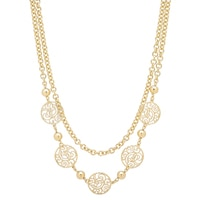 Bronzoro Italia Filigree Station Rolo Link Necklace