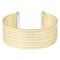 Toscana Diamonelle Sterling Silver 14K Yellow Gold Plate Textured Cuff Bangle