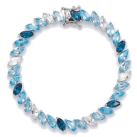 Gem RoManse Sterling Silver Rhodium Plated Marquise Shades of Topaz Bracelet