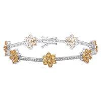 Gem RoManse Sterling Silver Rhodium Plated Gemstone Flower Station Bracelet