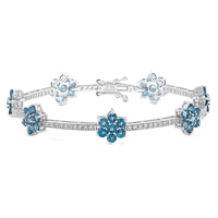 Gem RoManse Sterling Silver Rhodium Plated Gemstone Flower Station Bracelet