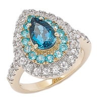 Gem RoManse 10K Yellow Gold Pear London Blue Topaz, Neon Apatite & White Zircon Ring