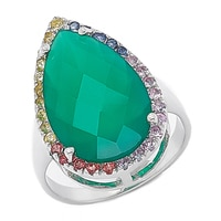 Gem RoManse Sterling Silver Rhodium Plated Chalcedony Ring with Multi Sapphire Frame